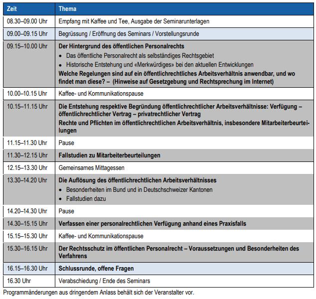 Seminar Personalrecht Programm
